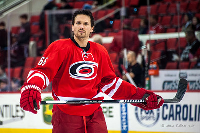 Ron Hainsey. January 25, 2014. Carolina Hurricanes vs. Ottawa Senators, PNC Arena, Raleigh, NC. Copyright © 2014 Jamie Kellner. All rights reserved.