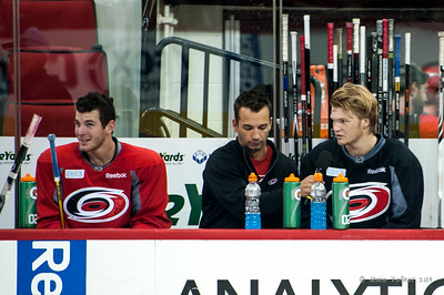 Shane Willis interviews Bryan Moore and Josh Wesley. July 24, 2014. Carolina Hurricanes Prospect Development Camp, PNC Arena, Raleigh, NC. Coyright © 2014 Jamie Kellner. All Rights Reserved.