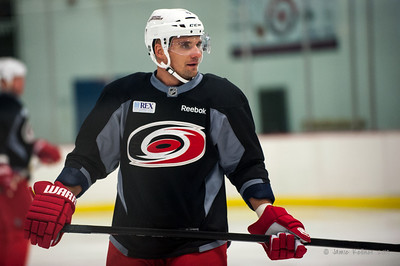 Andrej Sekera. October 23, 2013. Carolina Hurricanes practice at Raleigh Center Ice, Raleigh, NC.  Copyright © 2013 Jamie Kellner. All rights reserved.